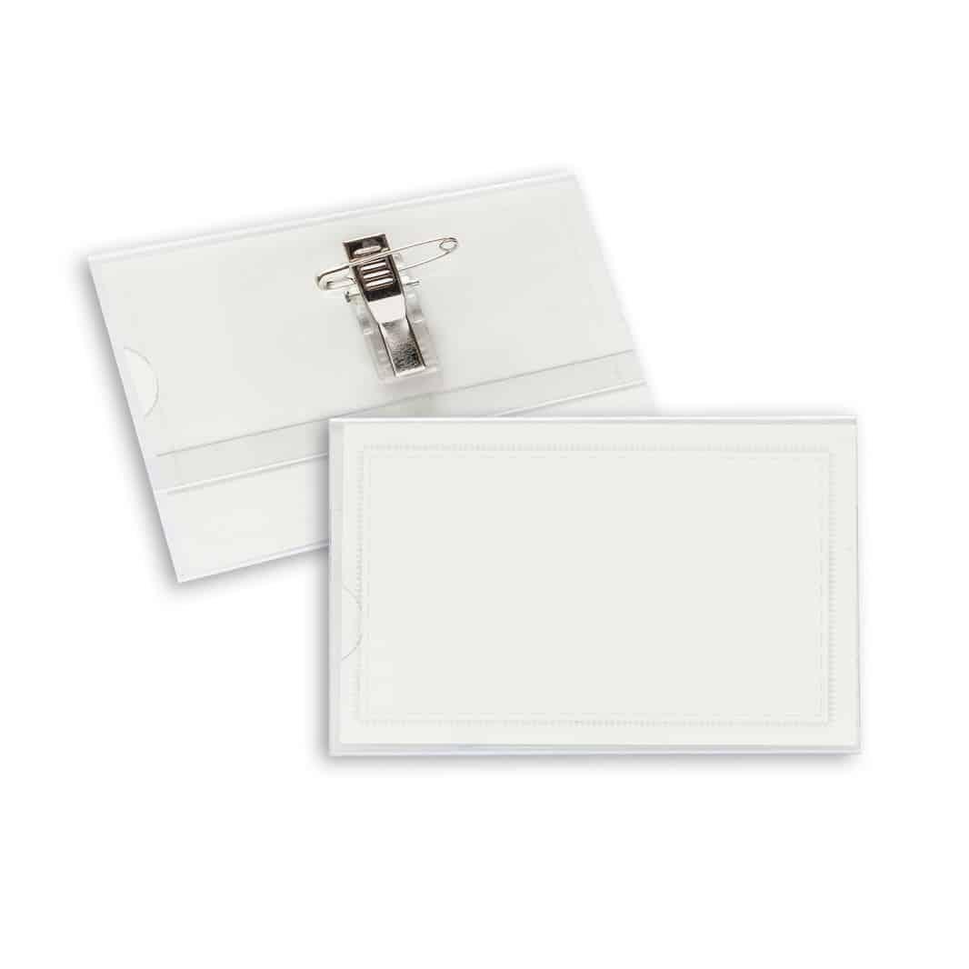 Porta badge bianco con spilla di metallo