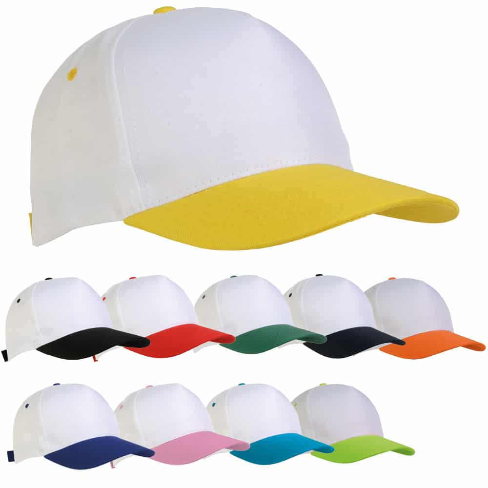 Cappellini in poliestere di diversi colori con chiusura in velcro