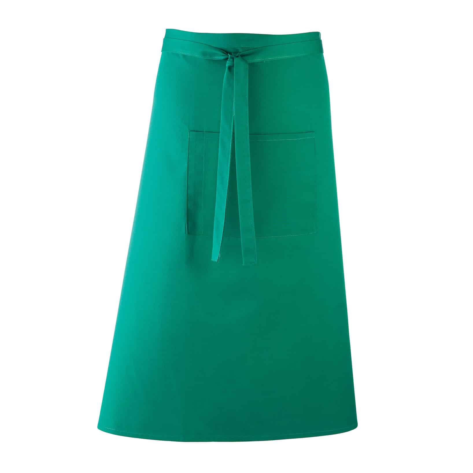 Grembiule da uomo lungo verde in stile bar con grande tasca frontale