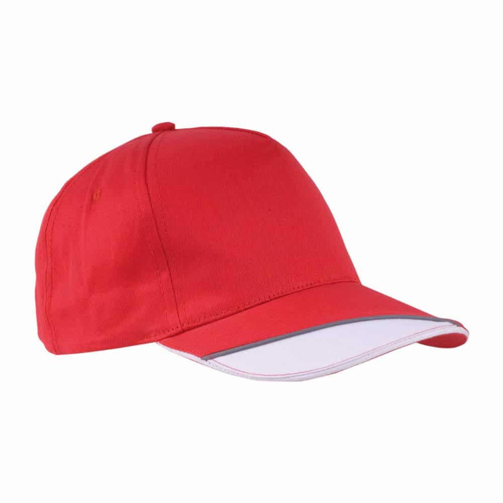 Cappelino rosso con visiera bianca in cotone con chiusura in velcro