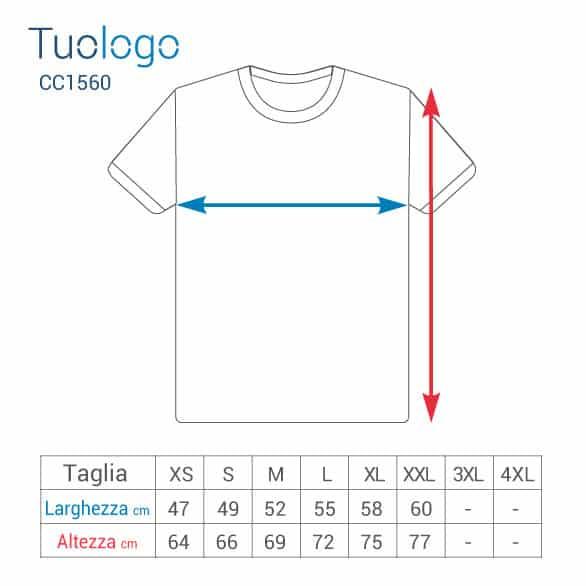 Schema delle misure delle taglie in cm delle tshirt in poliestere