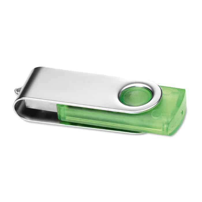 Chiavetta usb verde in plastica trasparente e copertura rotante in metallo