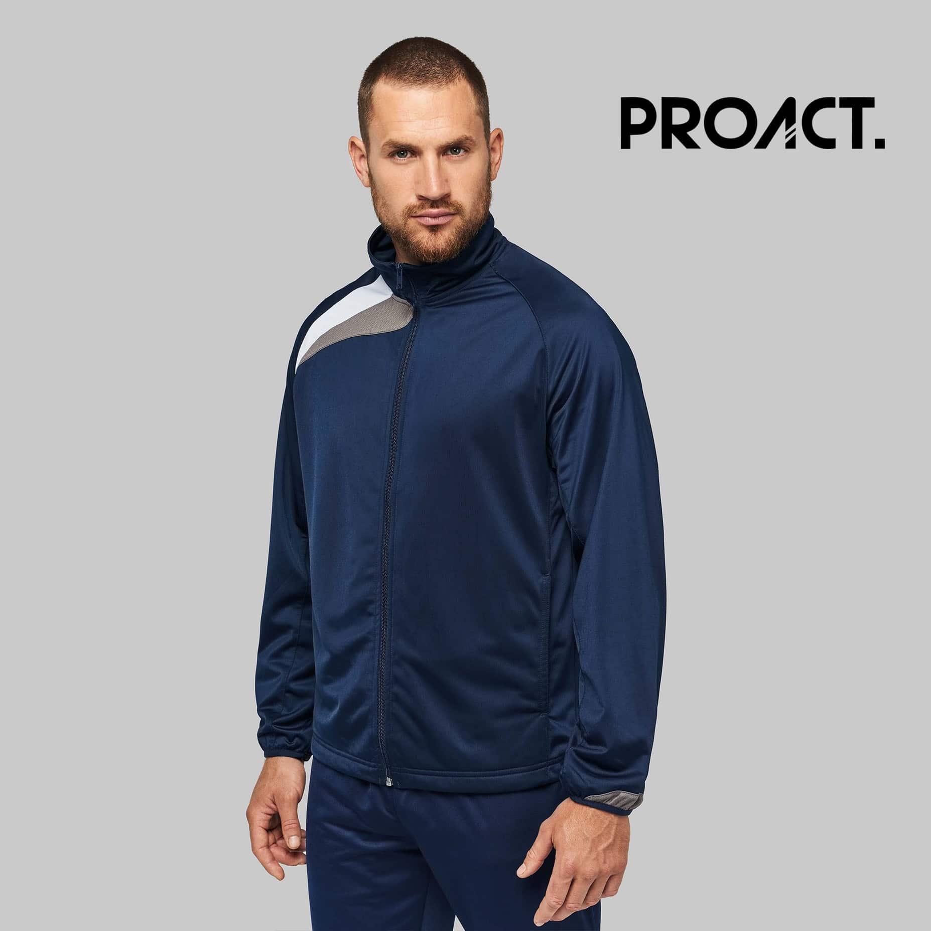 Uomo con maglia maniche lunghe blu 100% poliestere con zip tono su tono e polisini elasticizzati