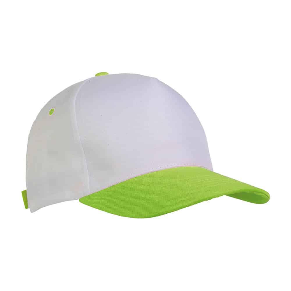 Cappellino in poliestere bianco e verde con chiusura in velcro