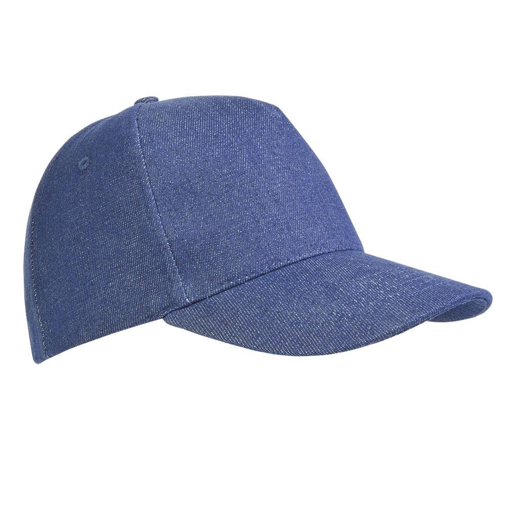 Cappellino blu in cotone con effetto jeans e chiusura in velcro