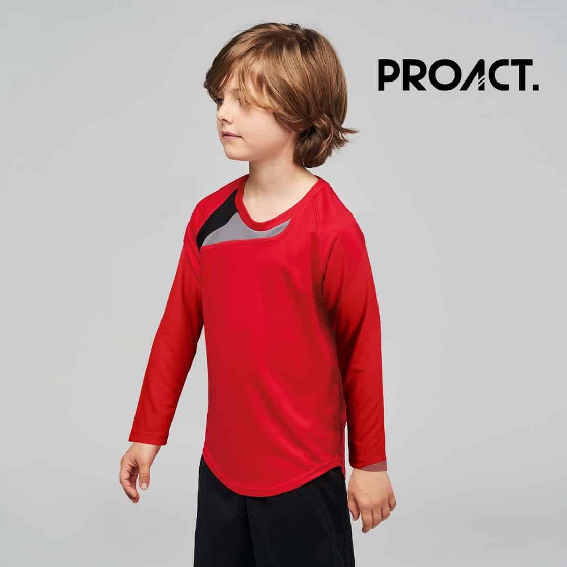 Bambino con maglia da calcio manica lunga rossa 100% poliestere