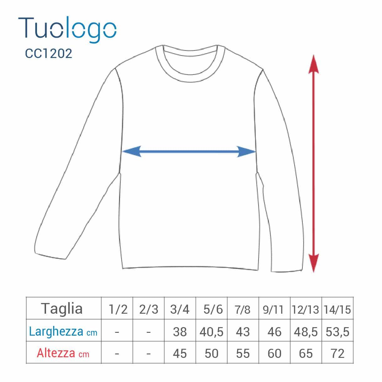 Schema delle misure in base alle taglie in cm per le tshirt bambino manica lunga
