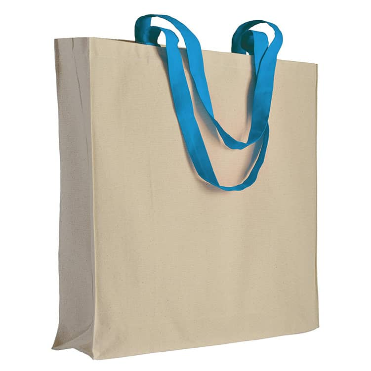 Shopper in cotone naturale con manici lunghi azzurri