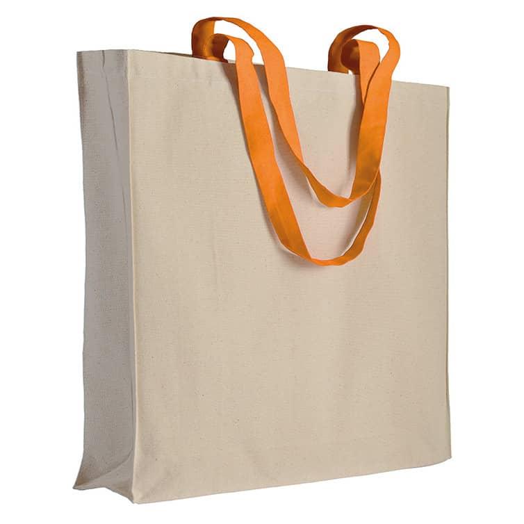 Shopper in cotone naturale con manici lunghi verdi