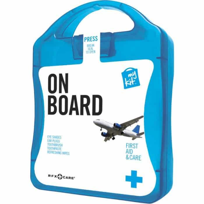 Kit da viaggio azzurro per aereo