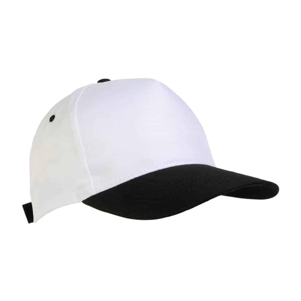 Cappellino in poliestere bianco e nero con chiusura in velcro