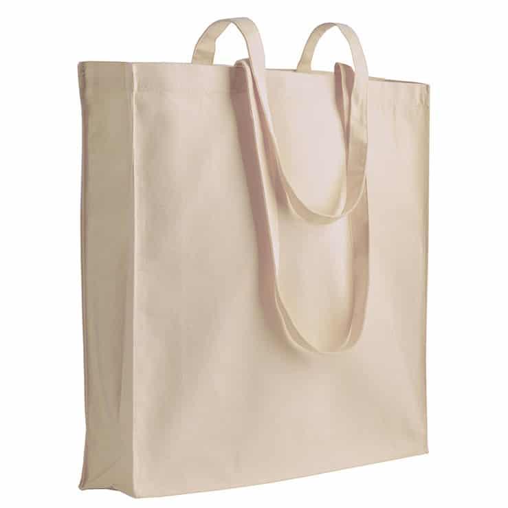 Shopper in cotone bianco con manici lunghi e soffietto