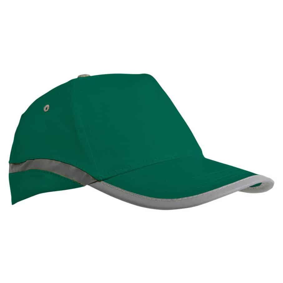 Cappellino in cotone verde con chiusura in velcro