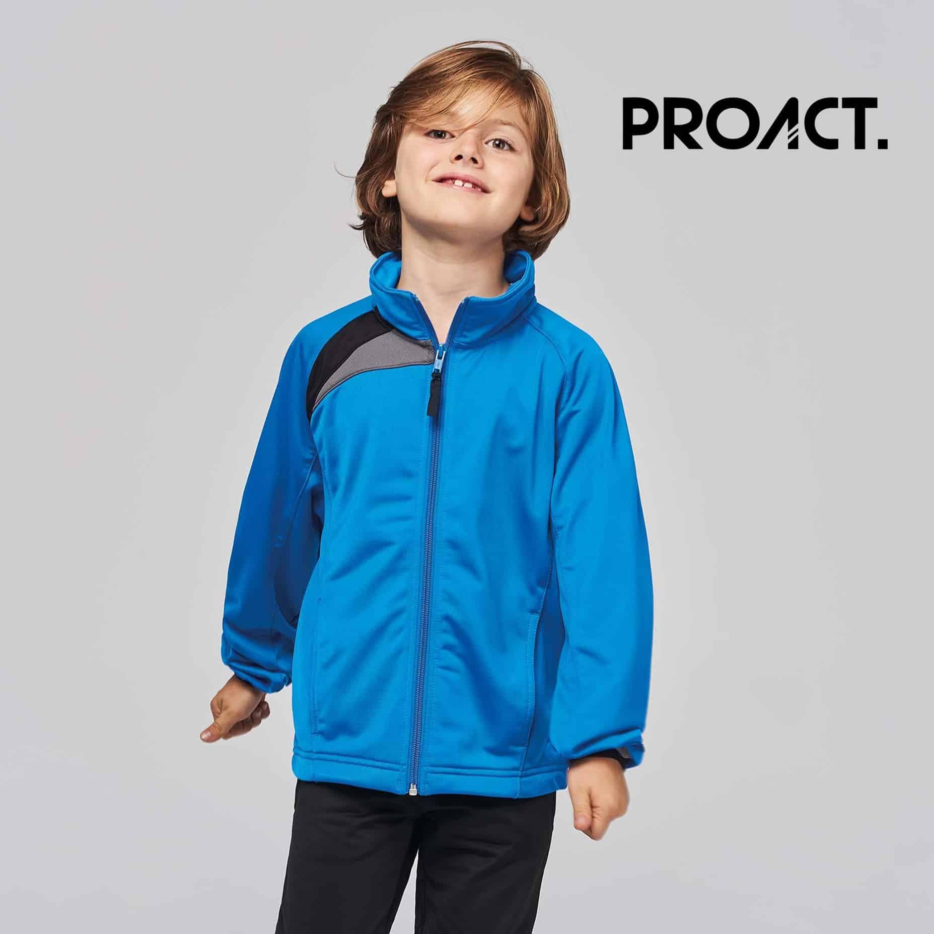 Bambino con maglia maniche lunghe blu 100% poliestere con zip tono su tono e polisini elasticizzati
