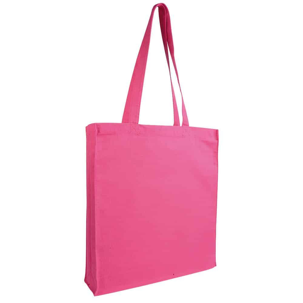 Shopper in cotone rosa con manici lunghi e soffietto