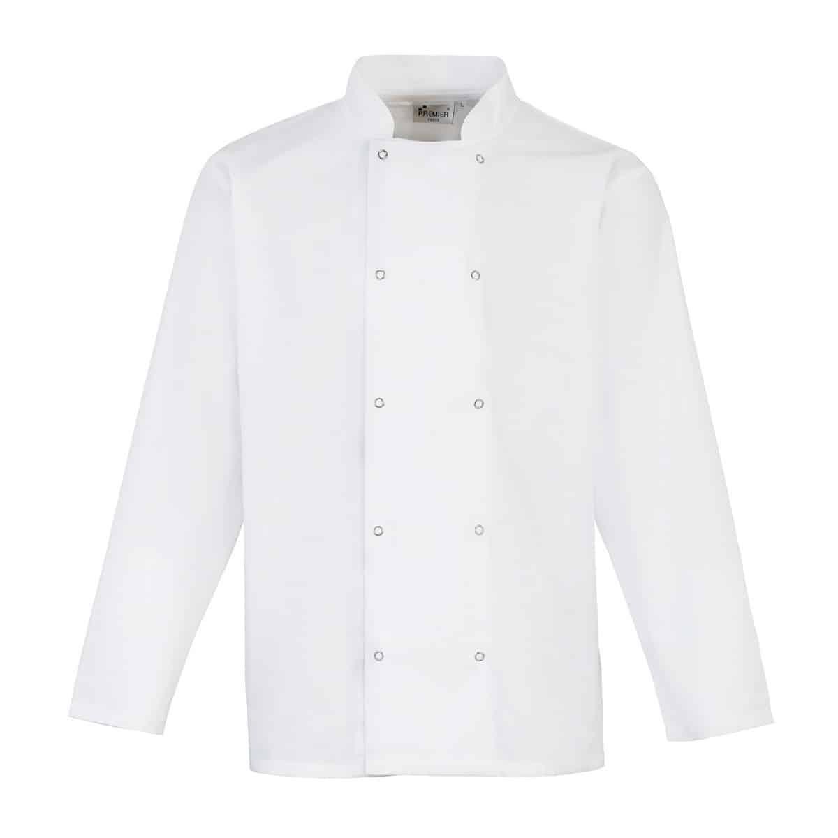 Giacca da cuoco bianca con collo alla coreana e manica lunga