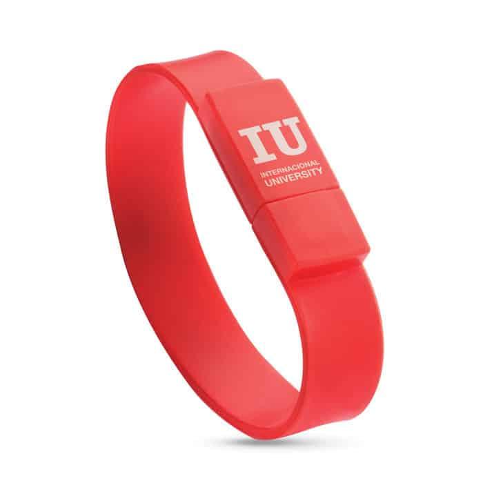 Chiavetta usb a forma di braccialetto rosso con logo