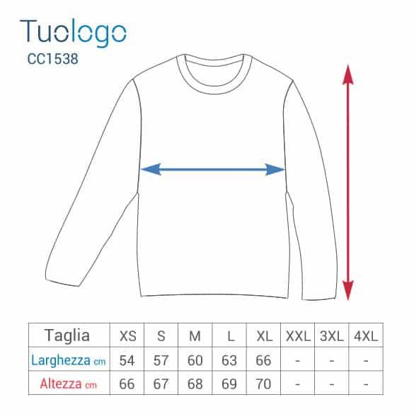 Tabella larghezza e lunghezza taglie tshirt manica lunga