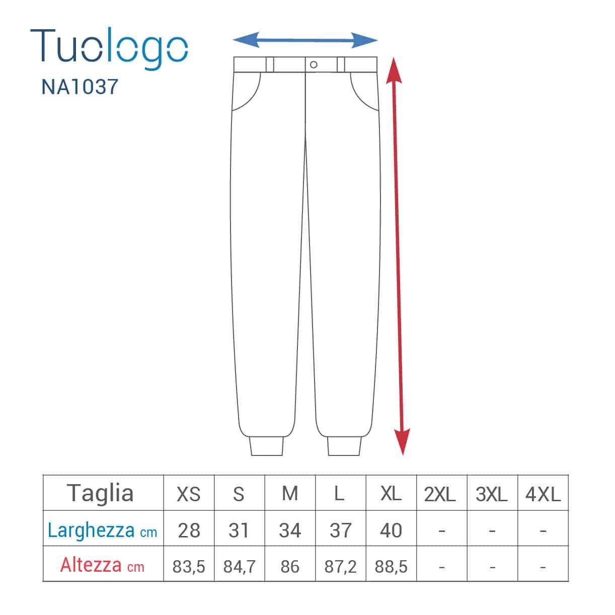 Tabella taglia altezza e larghezza