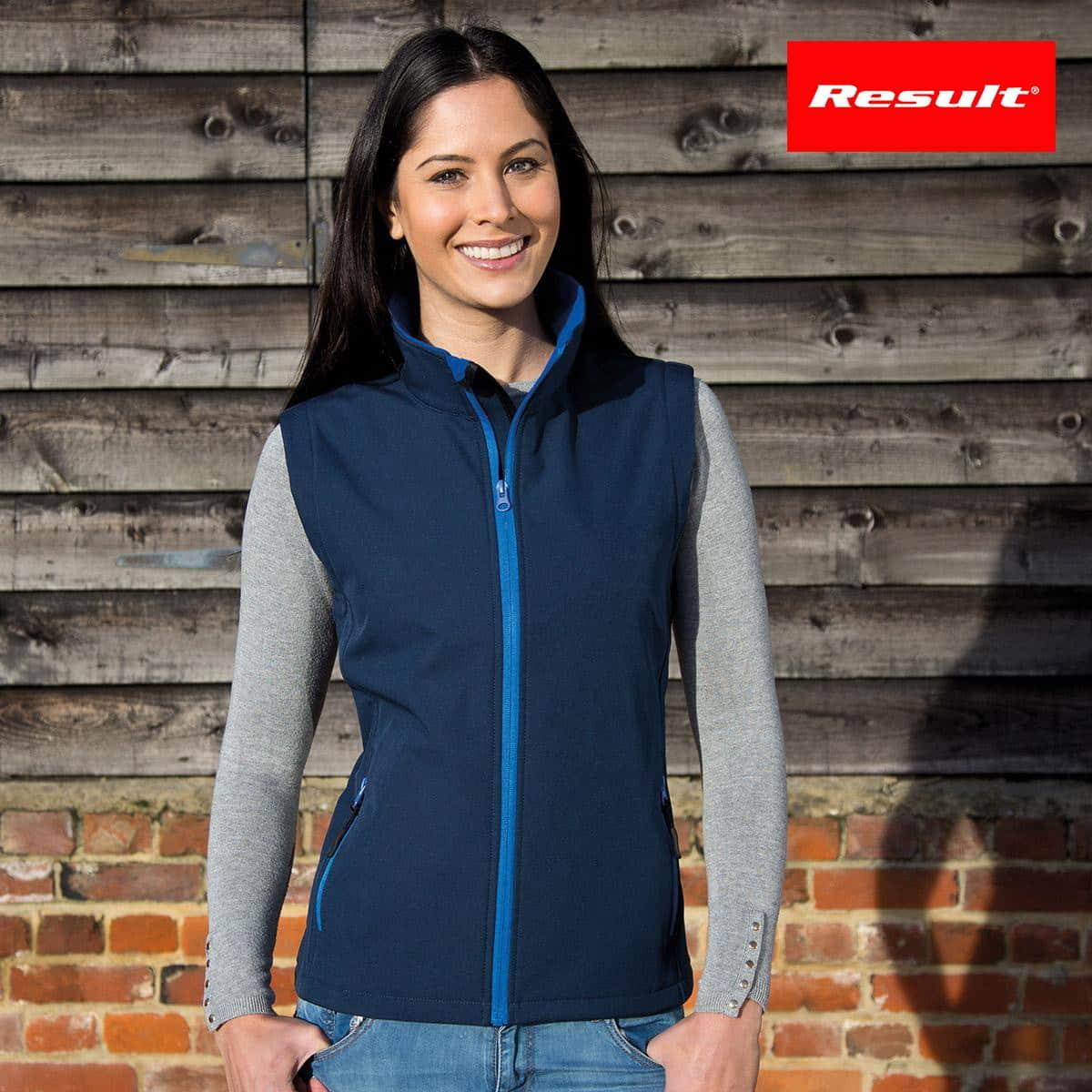Donna con smanicato blu scuro traspirante e impermeabile con tasche laterali con zip 100% poliestere