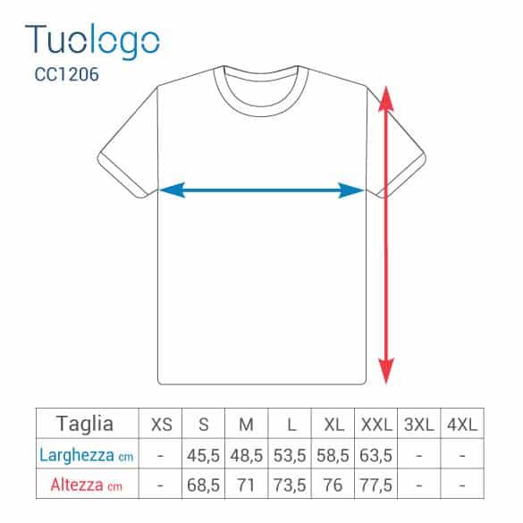 Schema delle misure delle taglie in cm delle tshirt