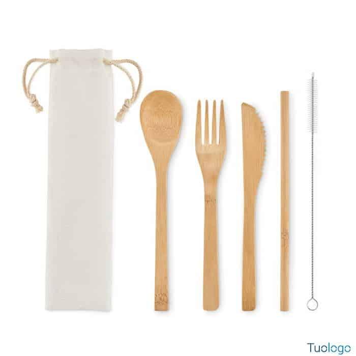 Coltello forchetta cucchiaio e cannuccia in bamboo con spazzola e custodia in tela