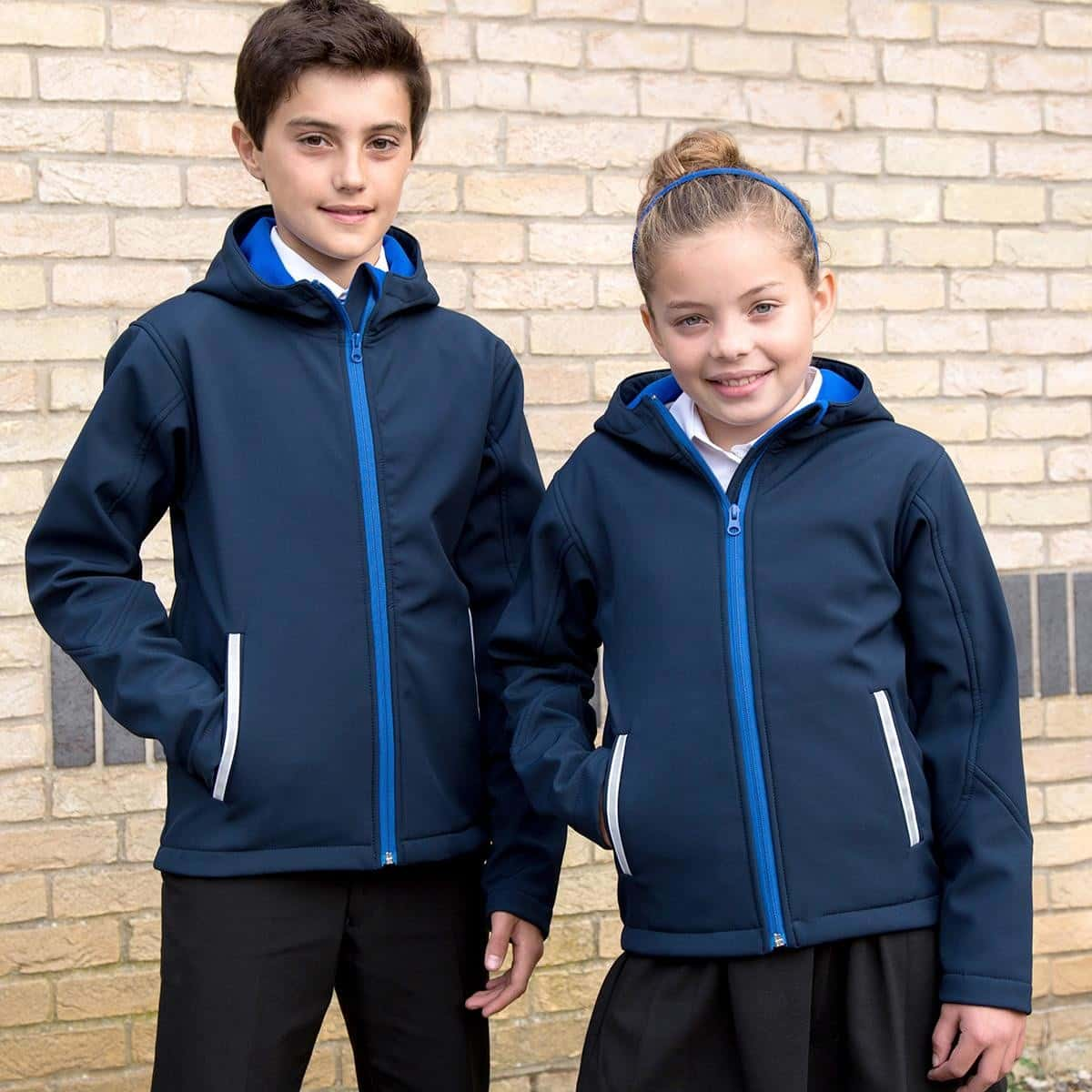 Bambini con giacca traspirante blu con interno in micropile