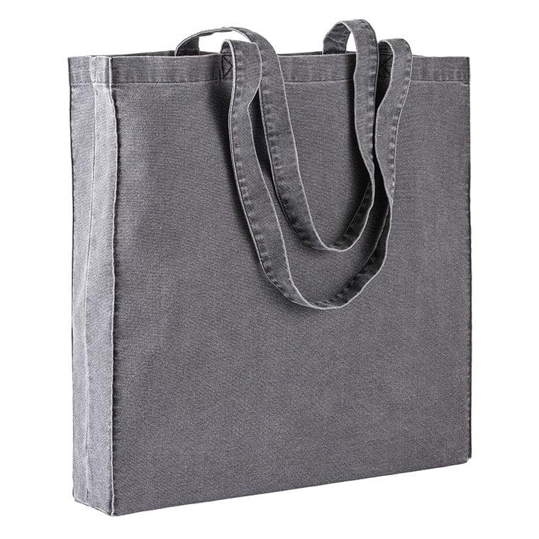 Shopper grigia in cotone con effeto jeans consumato con manici lunghi