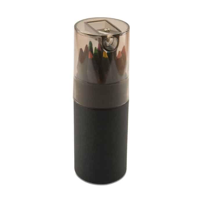 confezione in cartone con coperchio in plastica con temperino e dodici matite