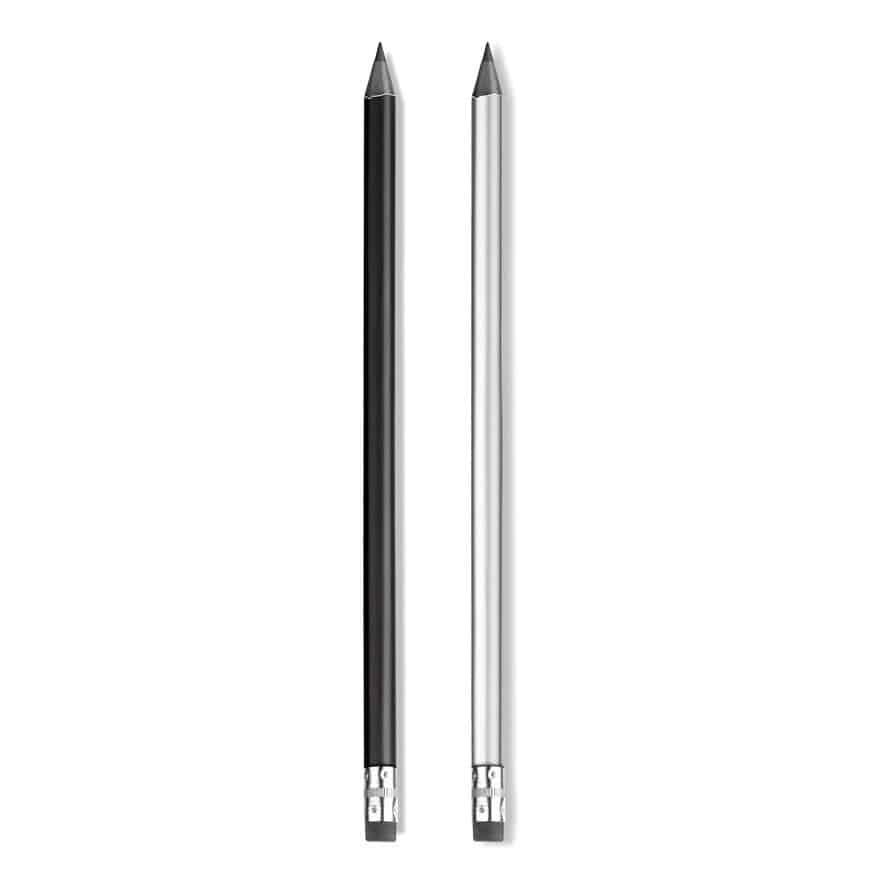 due matite nera e grigia in legno con gomma