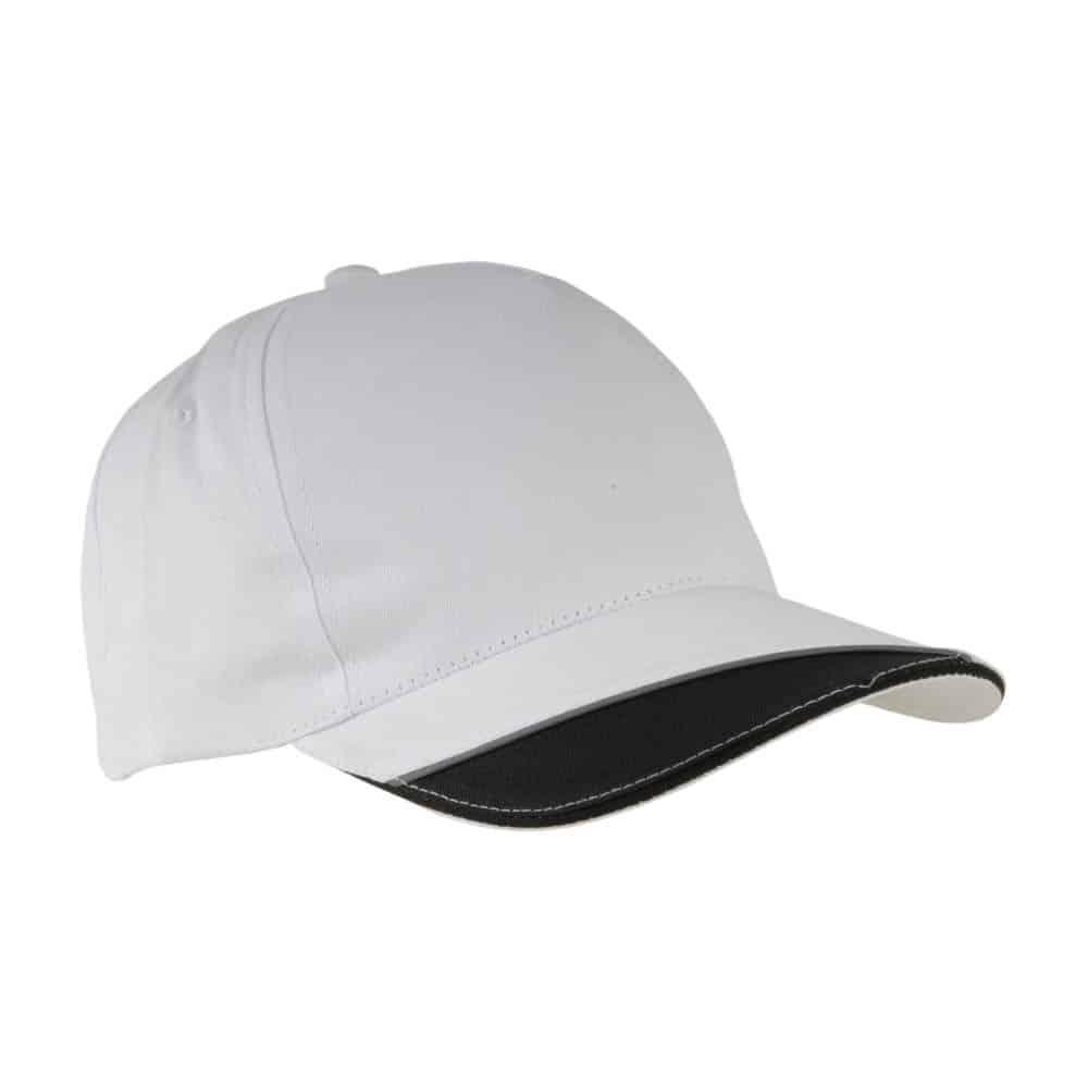 Cappelino bianco con visiera nera in cotone con chiusura in velcro