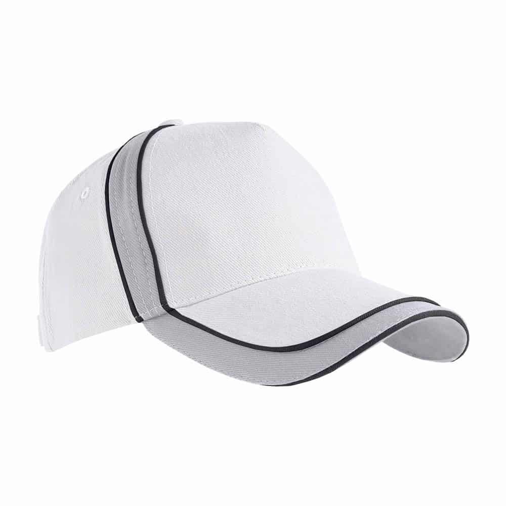 Cappellino bianco in cotone con strisce nere e chiusura in velcro