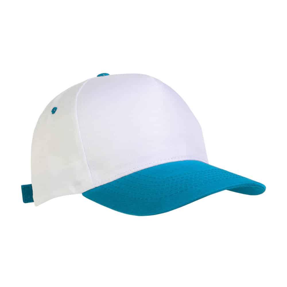 Cappellino in poliestere bianco e azzurro con chiusura in velcro