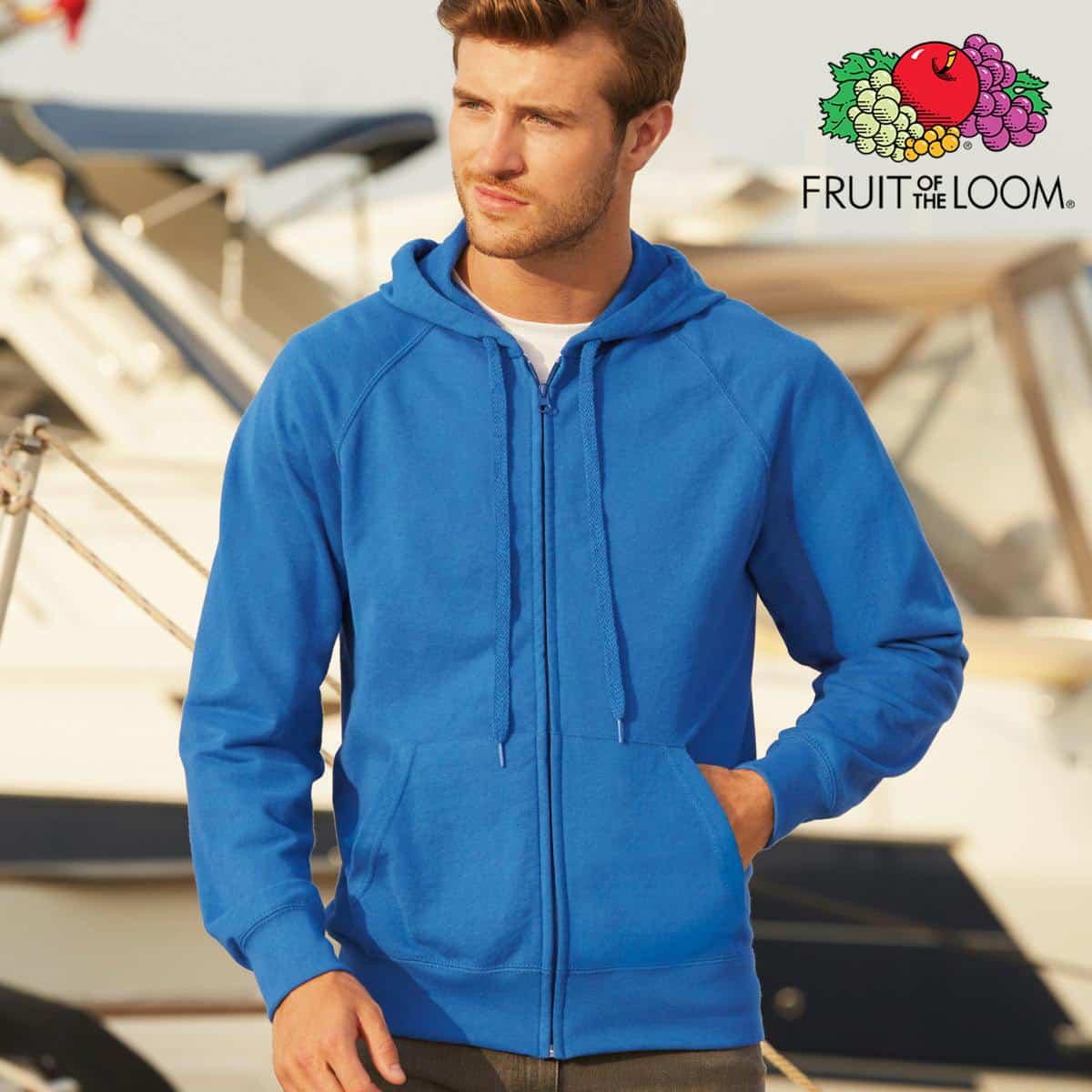 Uomo con felpa blu in cotone con cappuccio e zip